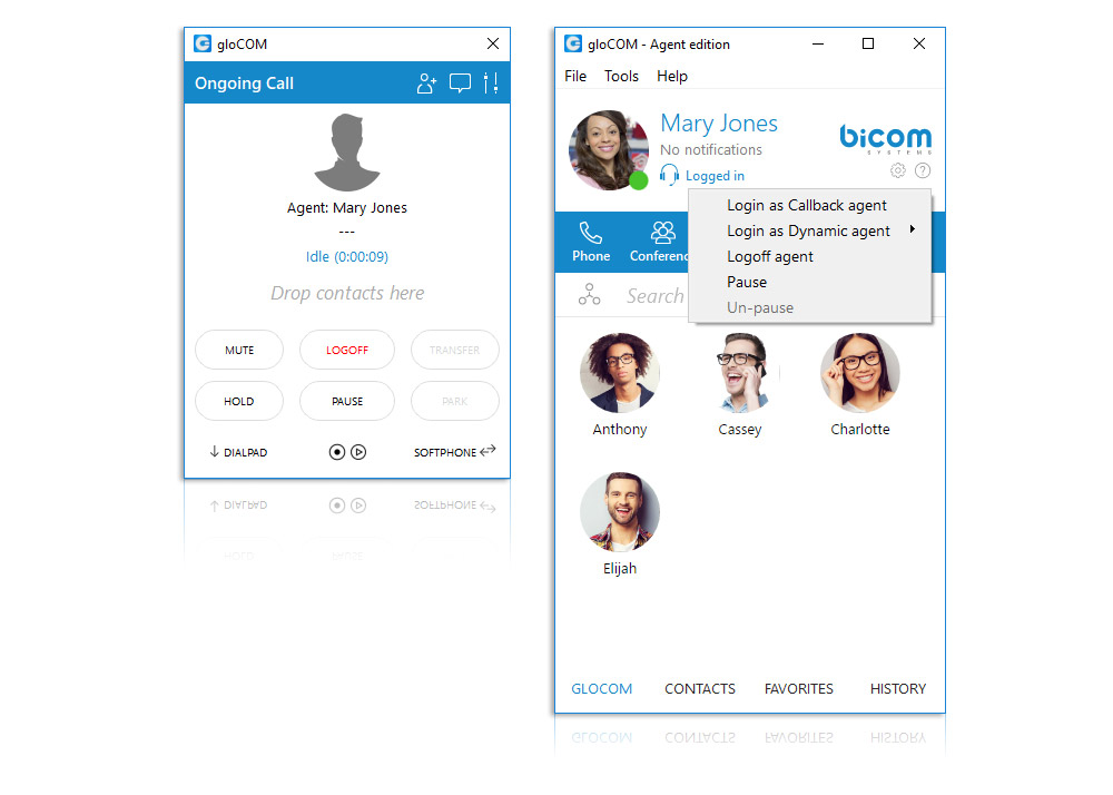 gloCOM - Call Center Unified Communications - Callback and Dynamic Agent