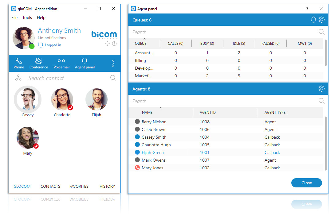 gloCOM - Call Center Unified Communications - Call Center Agent