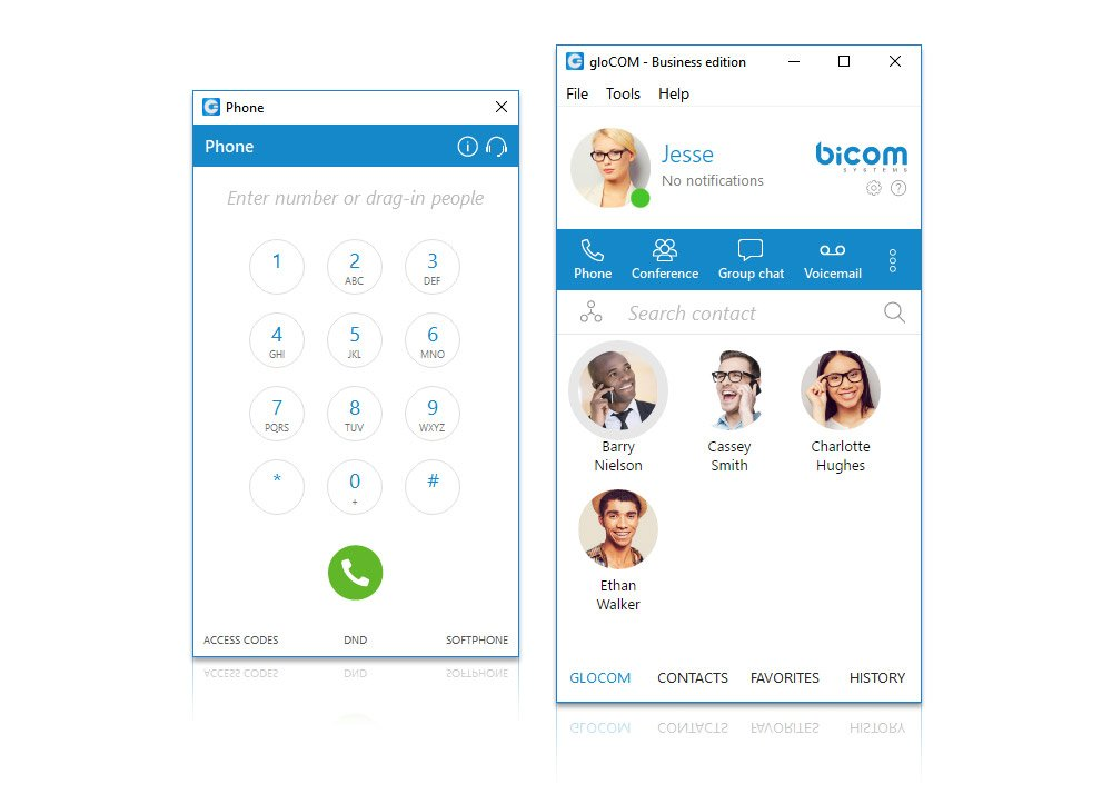 gloCOM - Business Unified Communications - Softphone call control
