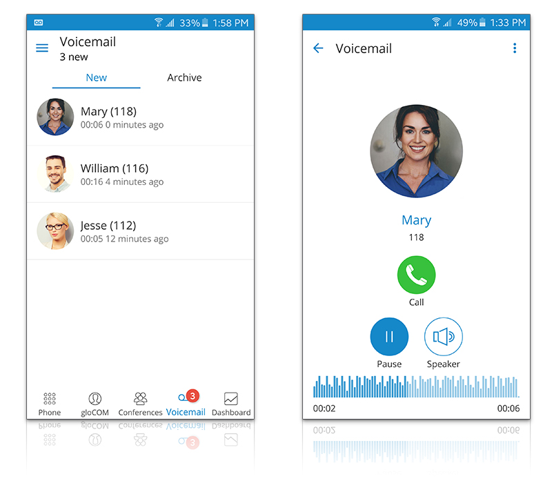 gloCOM GO - Mobile Unified Communications voicemail